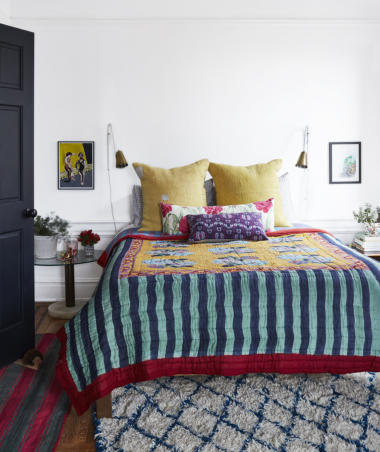 Bedroom with bold colors and patterns
