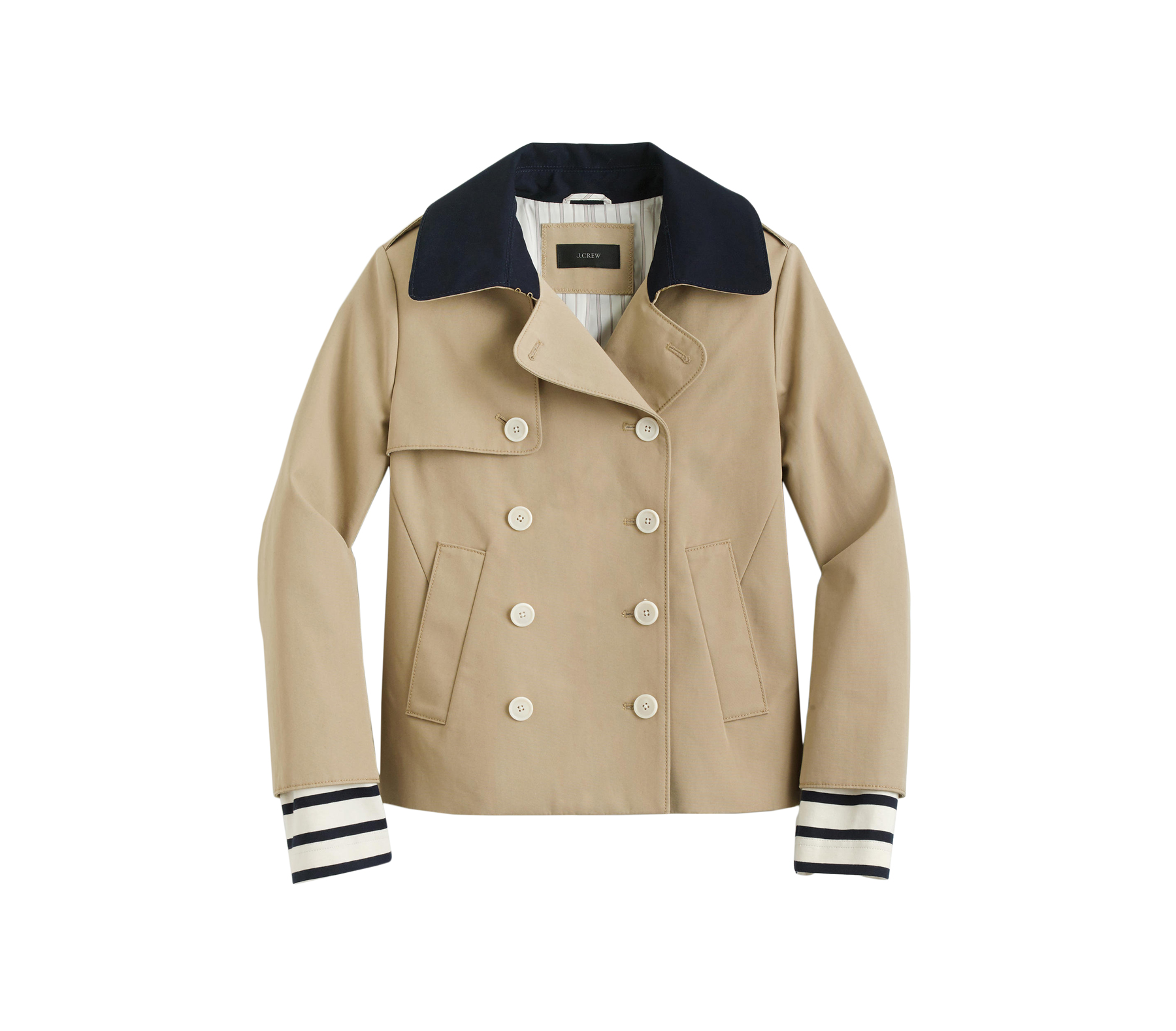 J. Crew Cropped Trench Coat with Detachable Striped Cuffs
