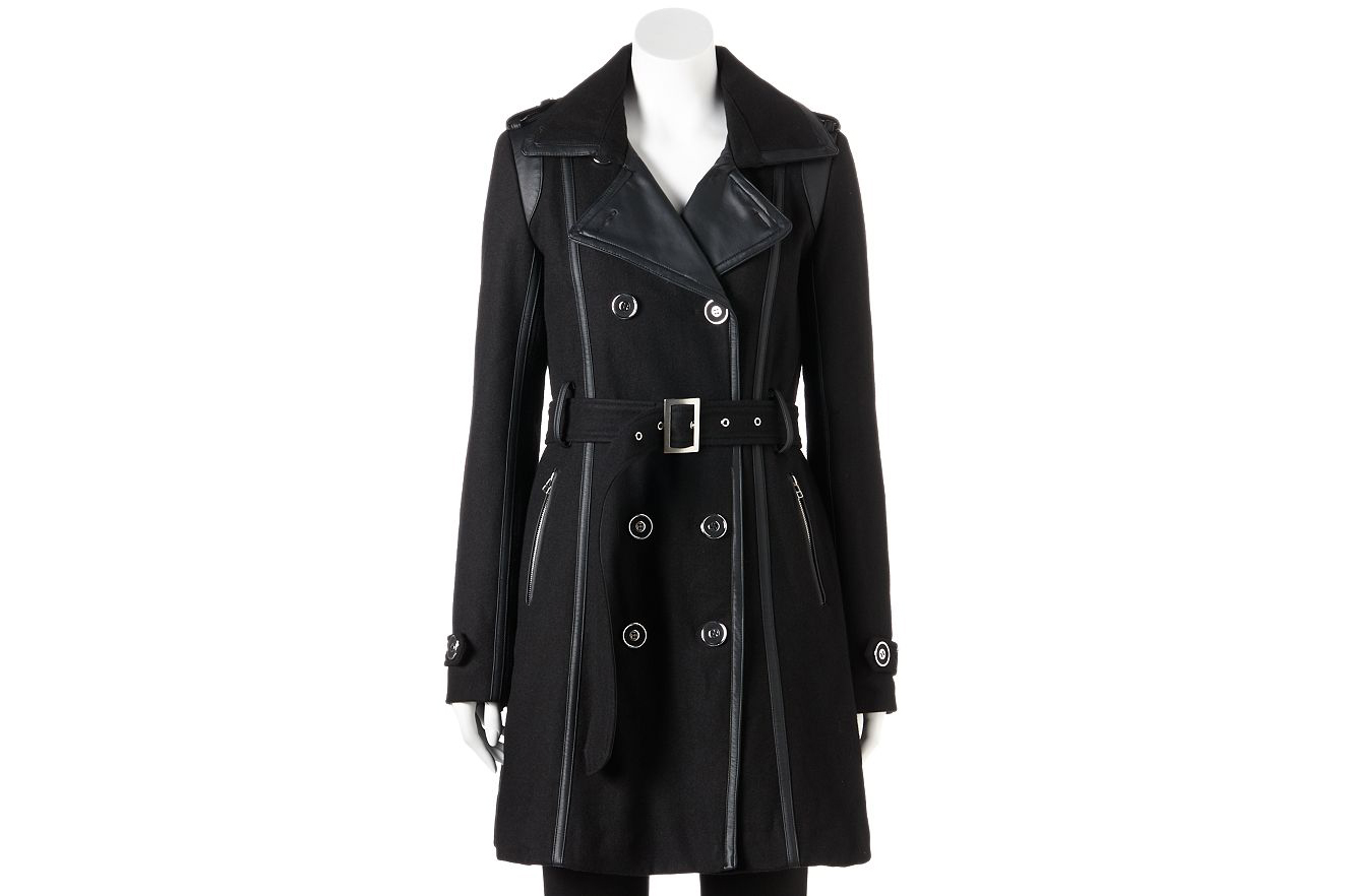 Kohl's Excelled Double-Breasted Faux-Wool Trench Coat