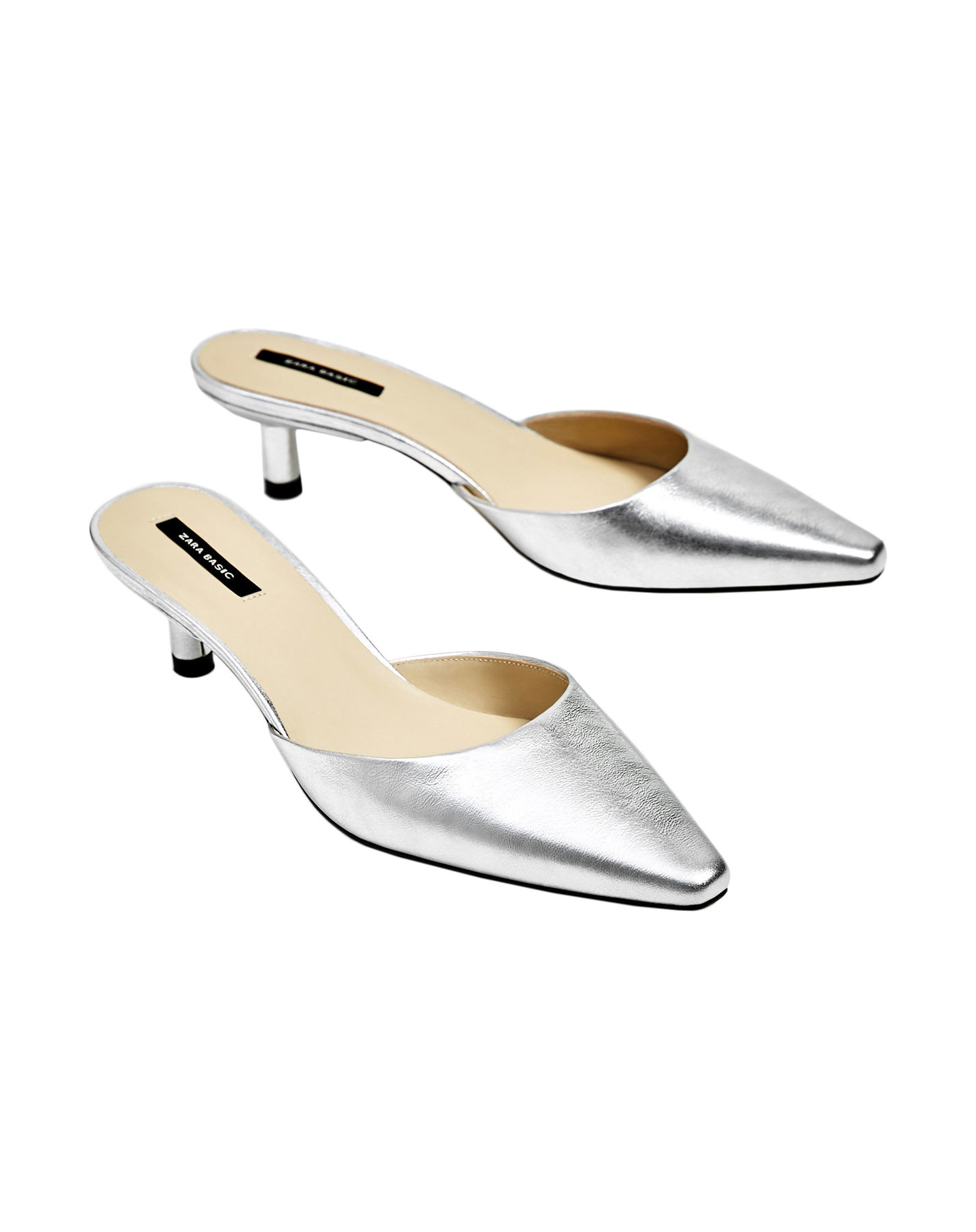 Zara Silver-Toned Leather Mules