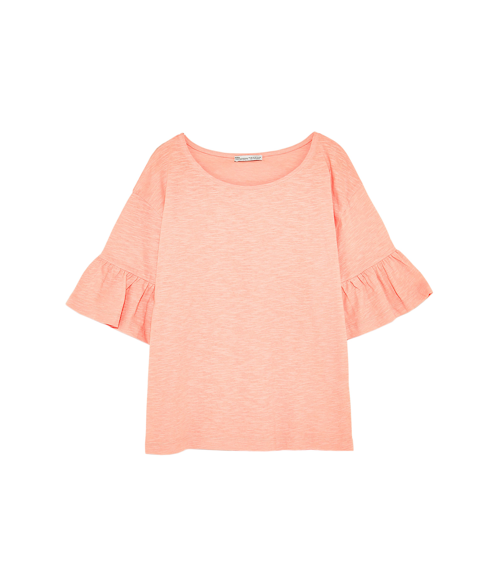 Zara T-shirt With Frilled Sleeves
