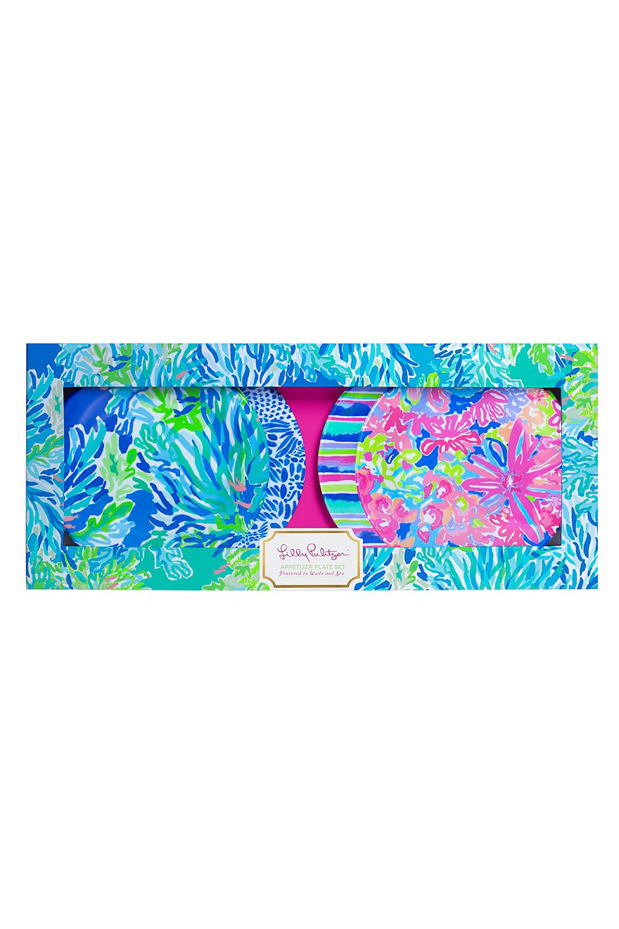 Lilly Pulitzer Wade and Sea 4-Piece Melamine Appetizer Plate Set