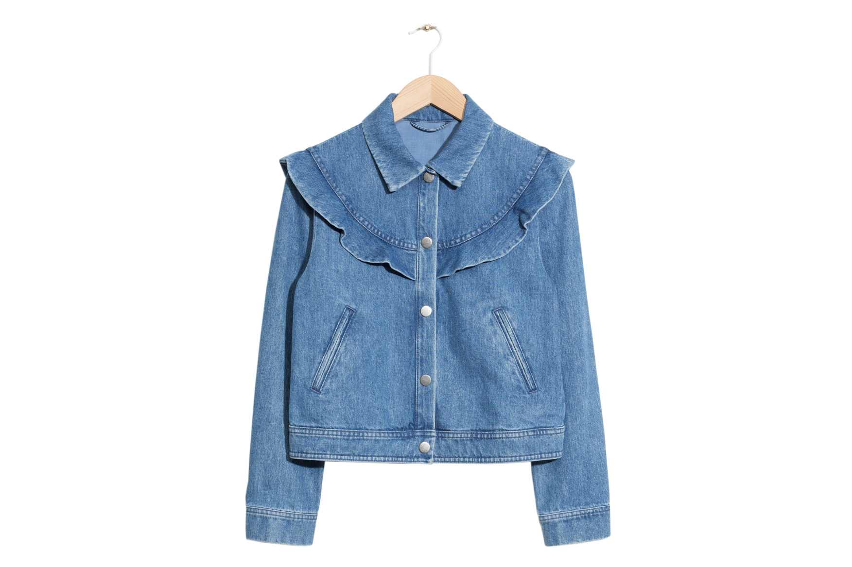 & Other Stories Frilled Embroidery Denim Jacket