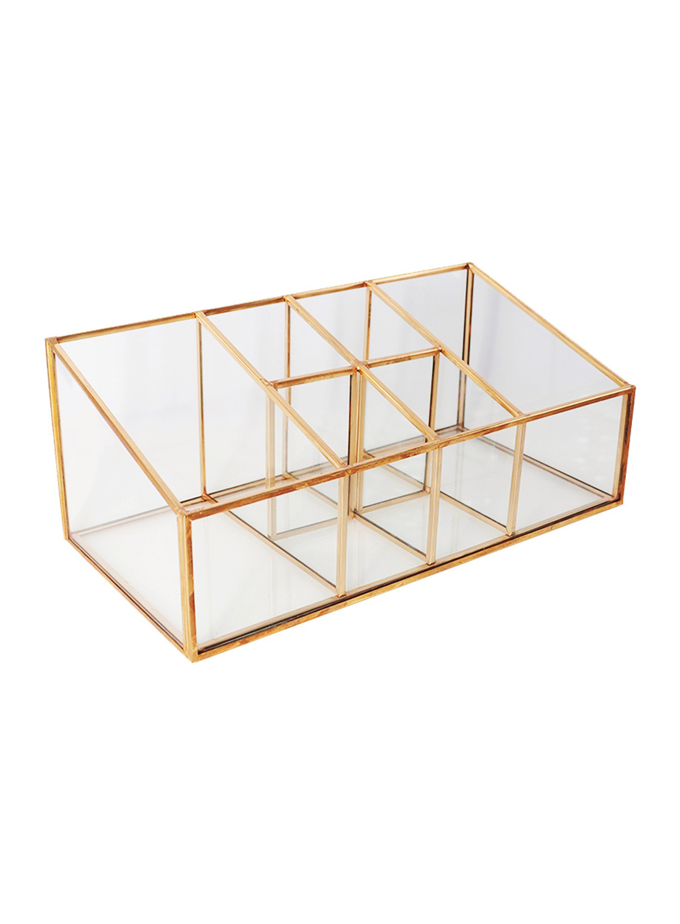 Glass Metal Vanity Organizer