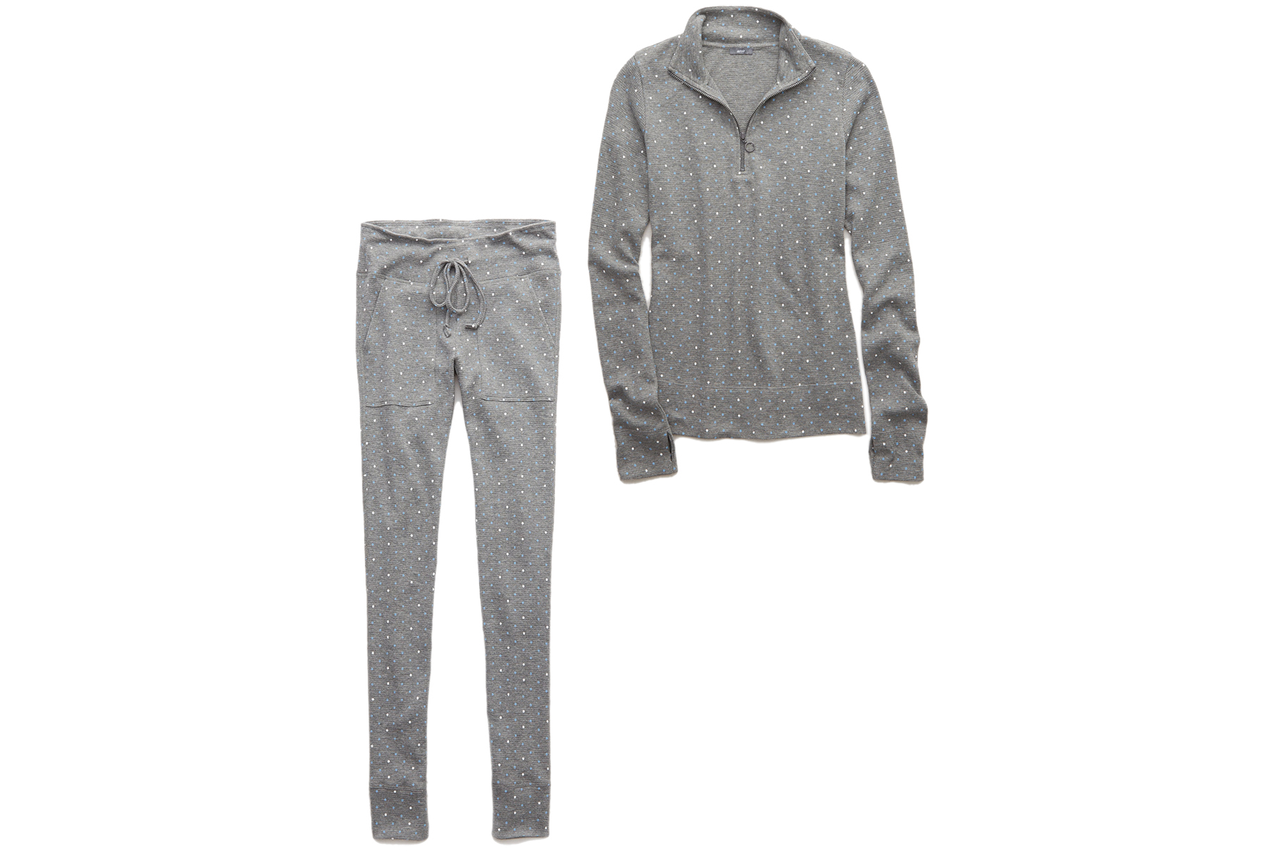 Aerie Waffle Quarter Zip Tee and Leggings