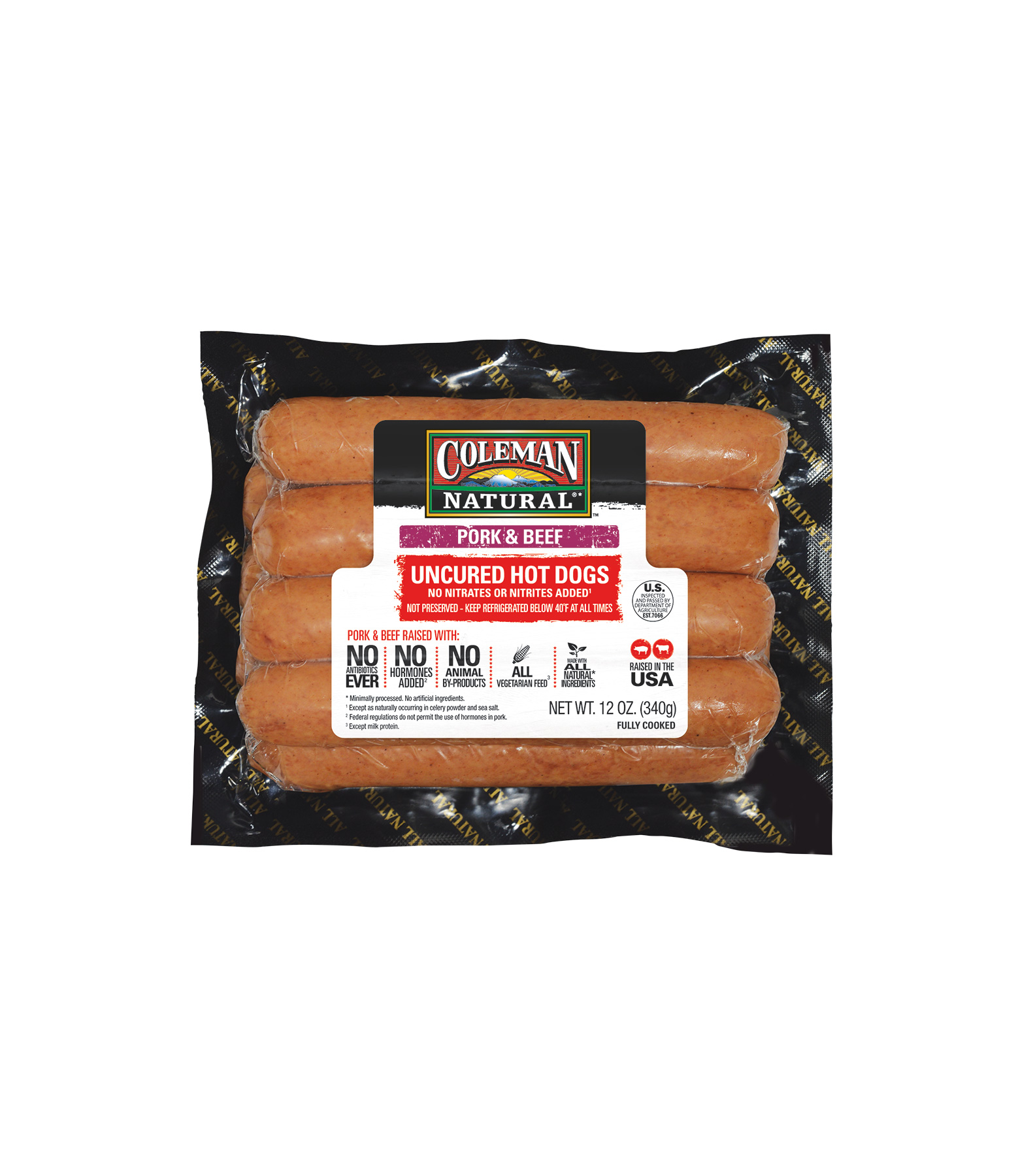 Coleman Natural Pork & Beef Uncured Hot Dogs (0718RTF)