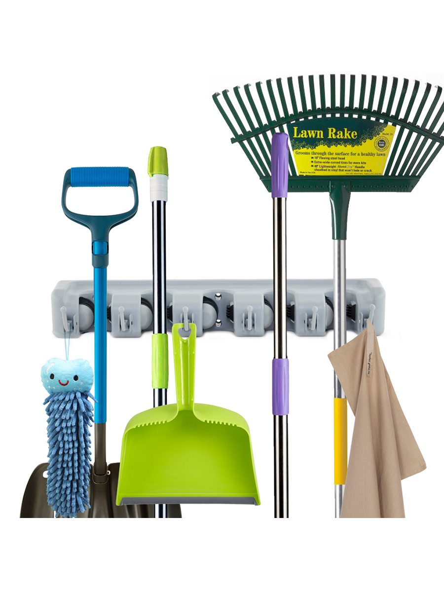 ForHouz Five Position Wall Mounted Broom Holder