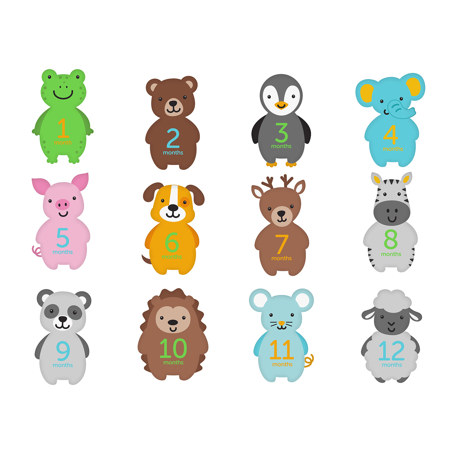 Baby First Year Animal Belly Stickers