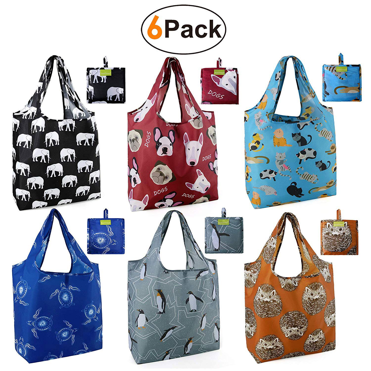 Grocery Bags Reusable Foldable 6 Pack Shopping Bags Large 50LBS