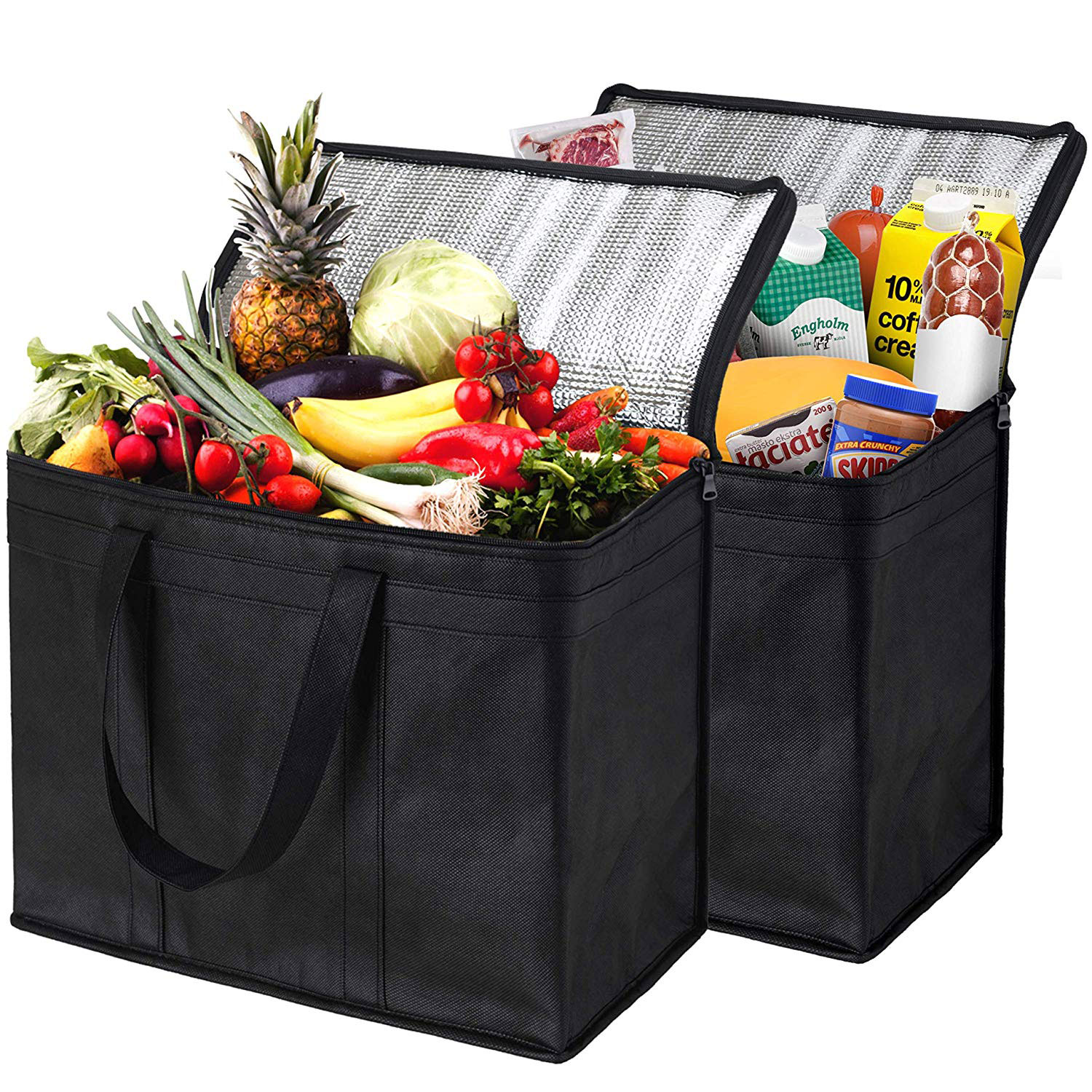 NZ Home XL Insulated Reusable Grocery Bags, Sturdy Zipper, Foldable, Washable, Heavy Duty