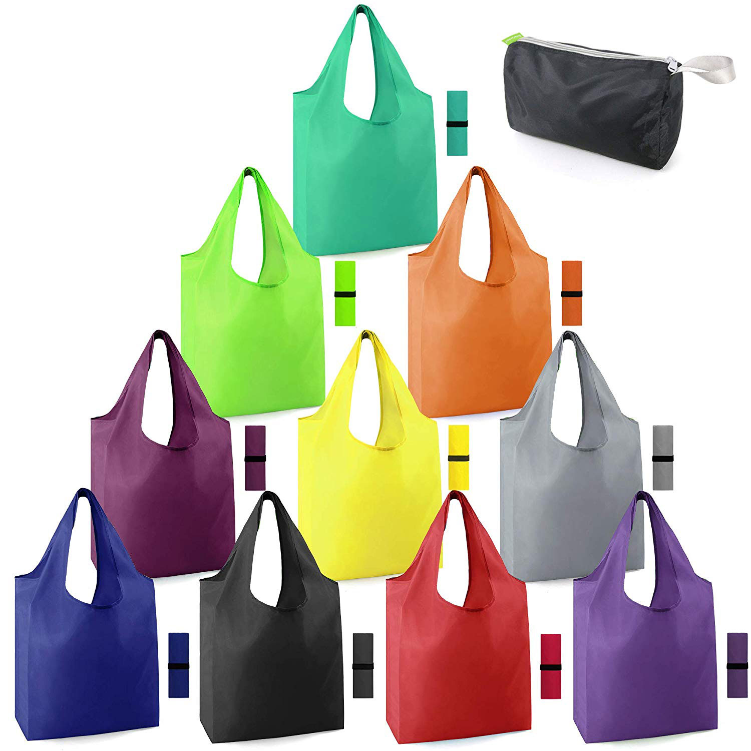 Fold Away SHOPPING BAGS 5 Colours With Pouch and Clip  NEW
