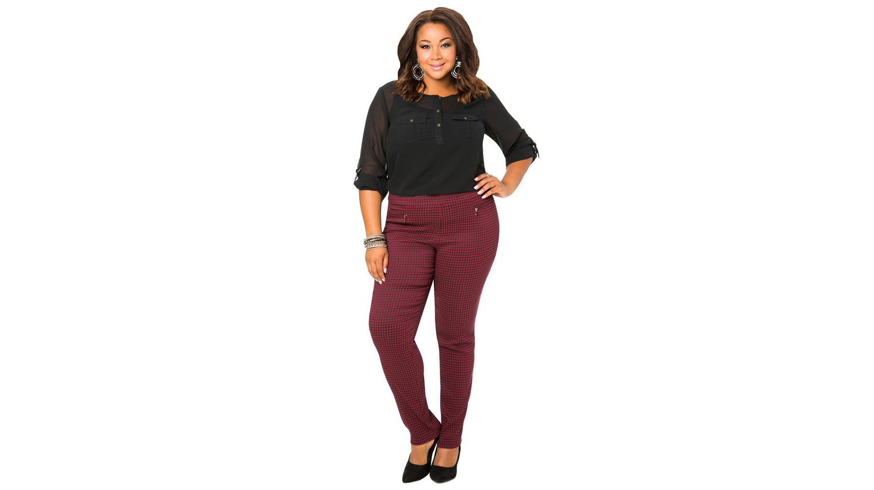 Ashley Stewart Houndstooth Boot Cut Pant