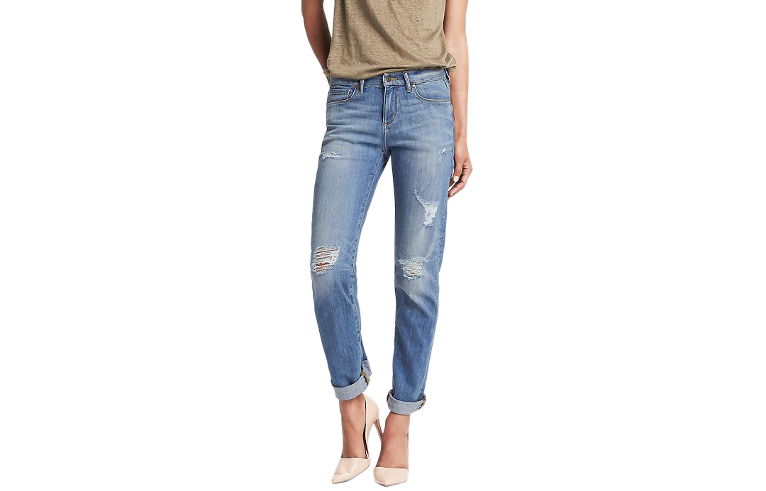 Banana Republic Destroyed Light Wash Slouchy Skinny Jean