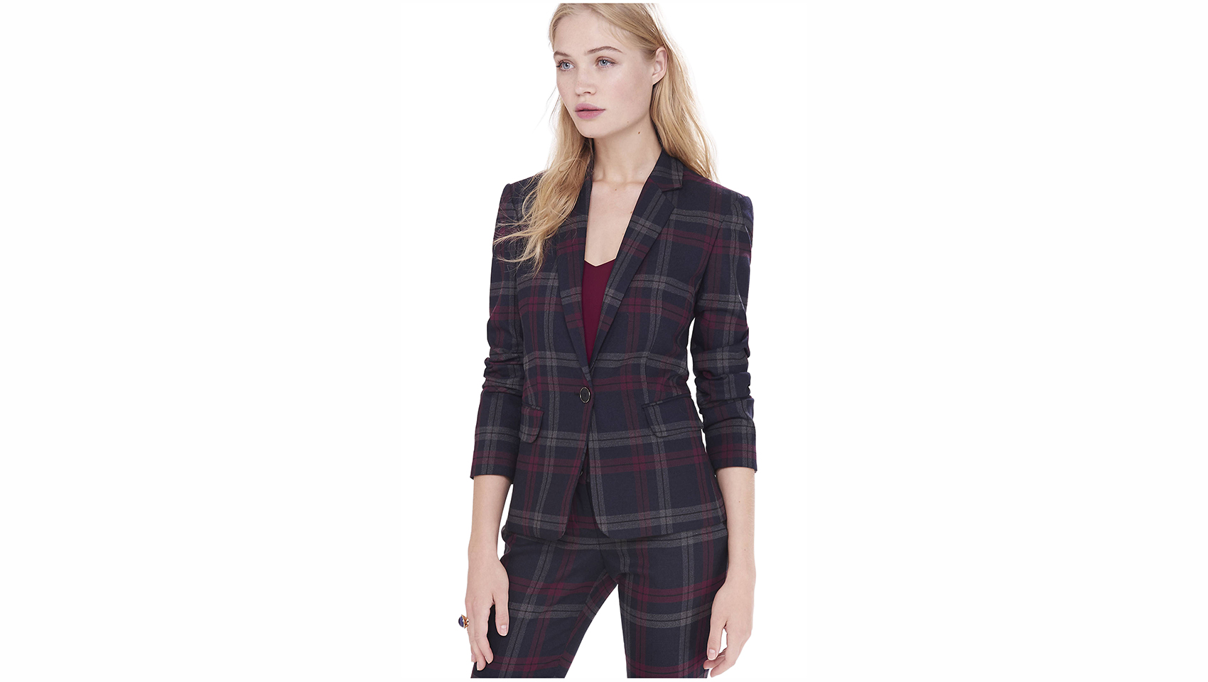 Express Berry Plaid One Button Jacket