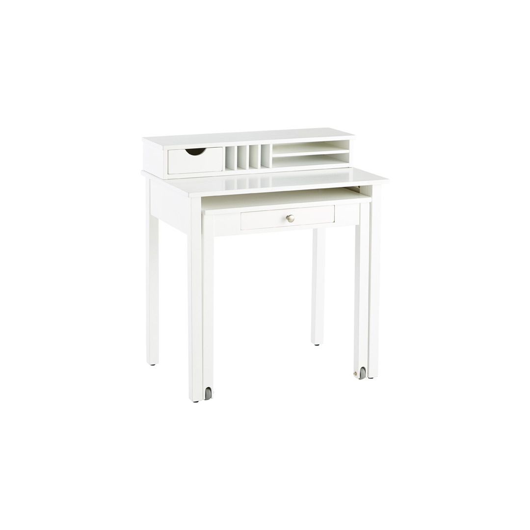 White Solid Wood Roll-Out Desk