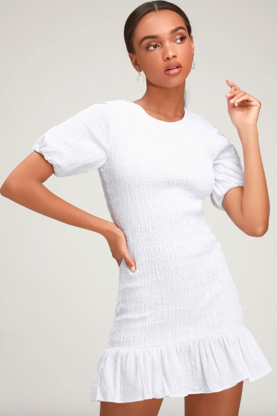 The Fifth Label Departure White Smocked Puff Sleeve Mini Dress
