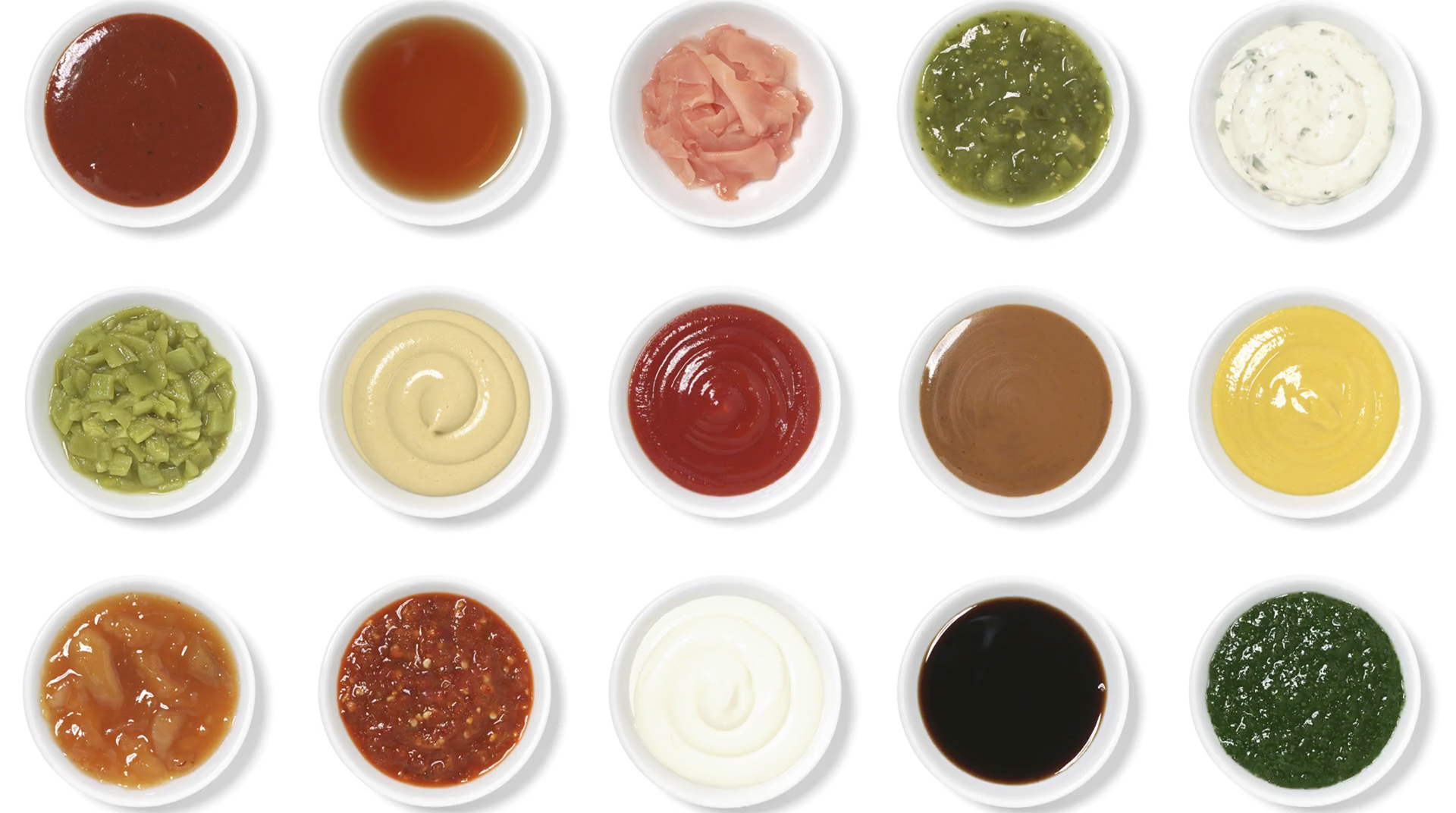 Condiments on white