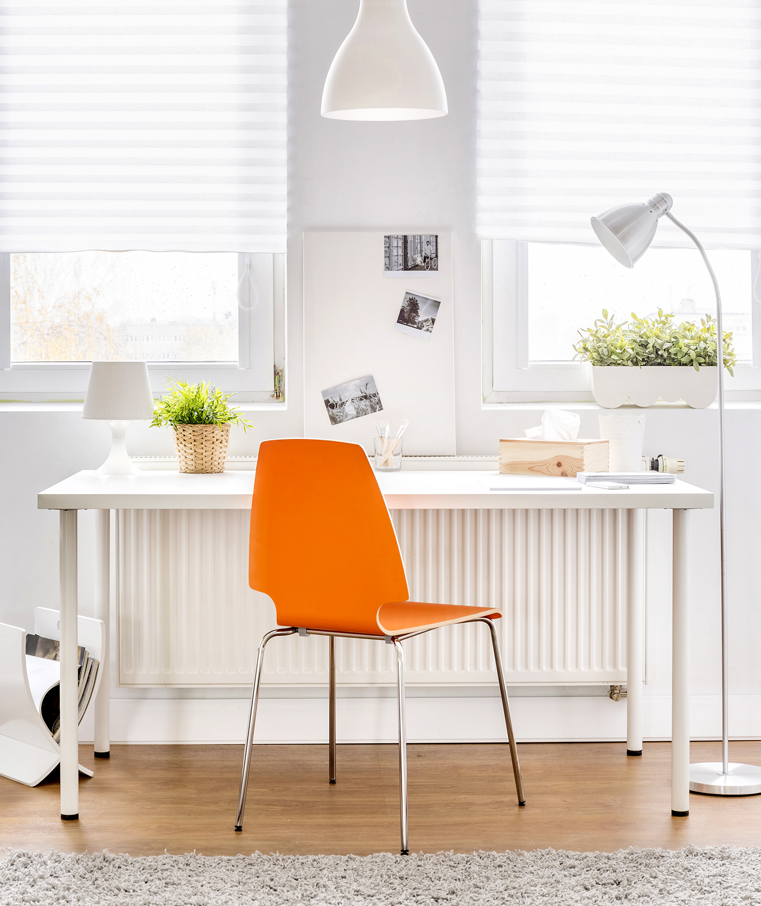 White desk with orange chair