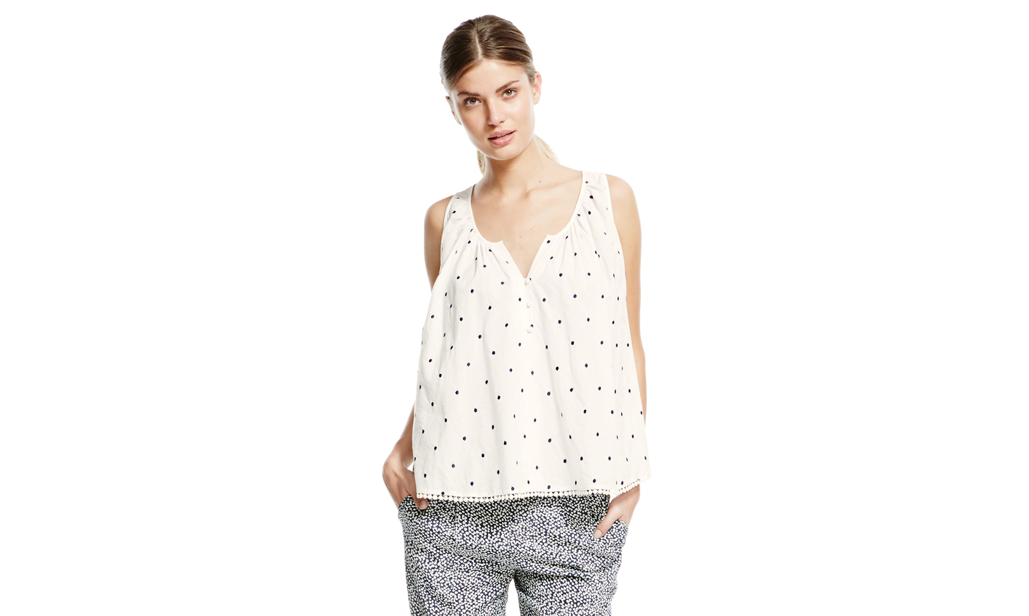 Boden Embroidered Spot Top
