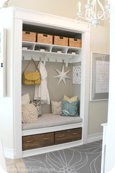 A Cozy Nook Can Work As The Perfect Mudroom Small Builder Grade Closet Was Completely Redone To Open Up Entryway Door Removed And