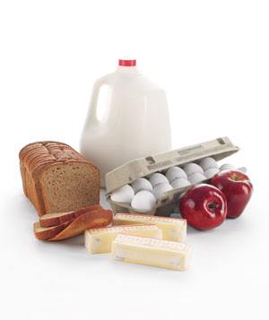 Milk, bread, eggs, butter, and apples