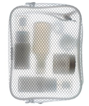 Beauty products in a mesh cosmetic bag