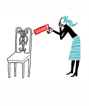 Illustration of woman looking at a price tag