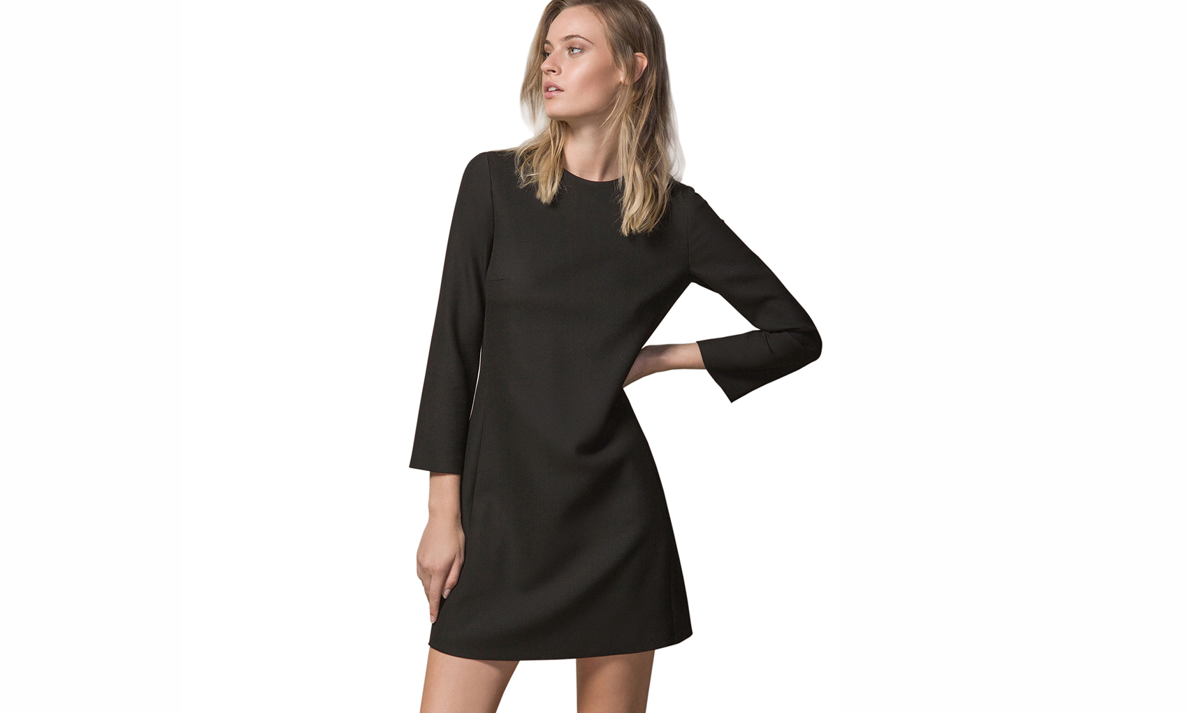 Massimo Dutti Black Dress With Belled Sleeves