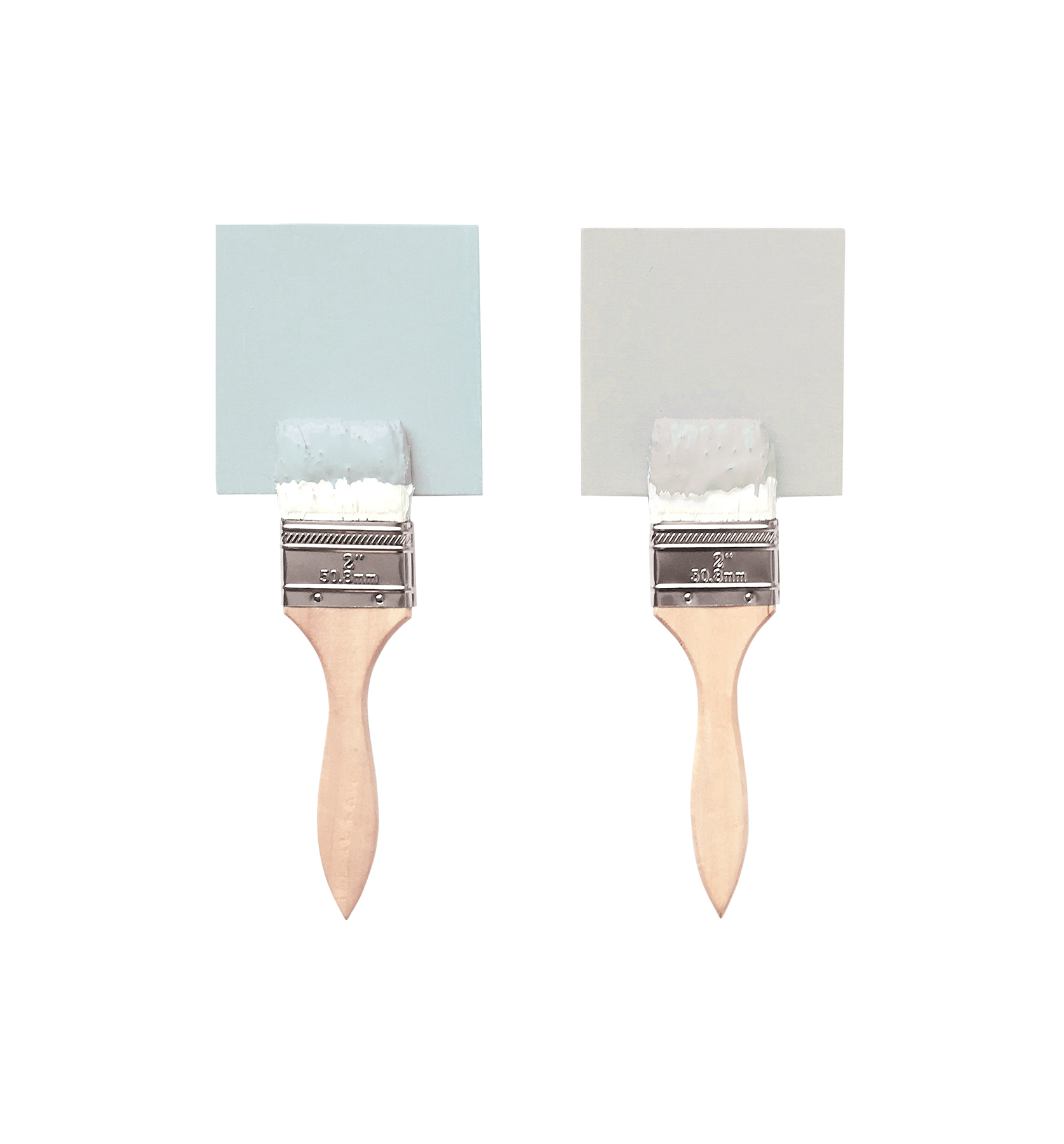 Paintbrushes with blue and gray paint