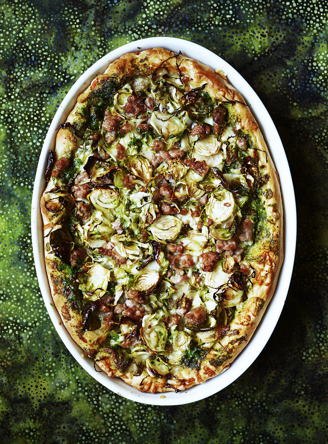 Clone of Deep-Dish Pizza With Turkey Sausage and Brussels Sprouts