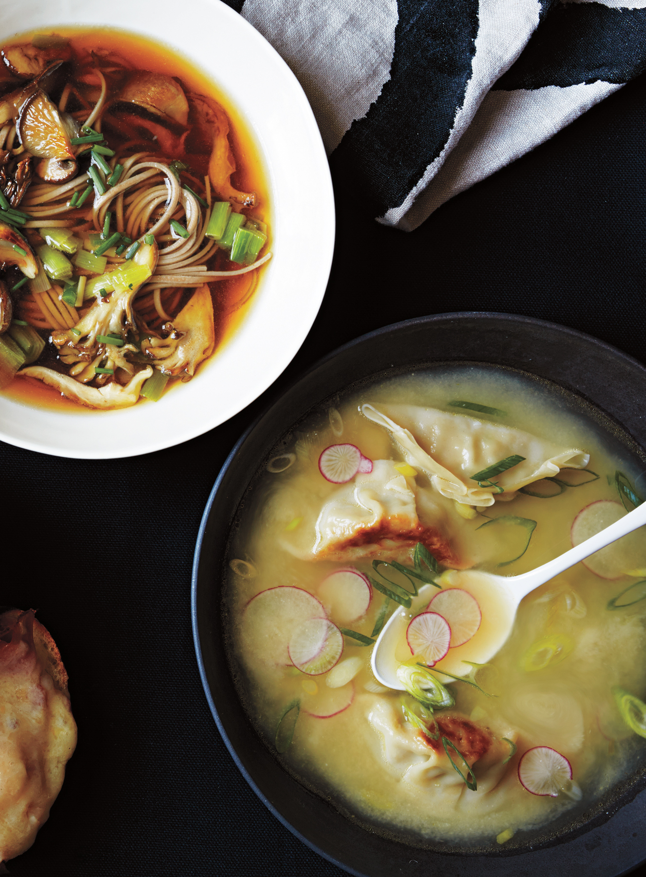 Miso and Potsticker Soup With Crispy Snap Peas