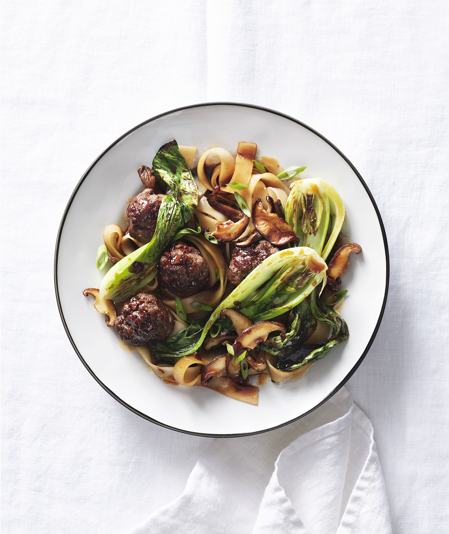 Rice Noodles With Meatballs, Mushrooms, and Bok Choy