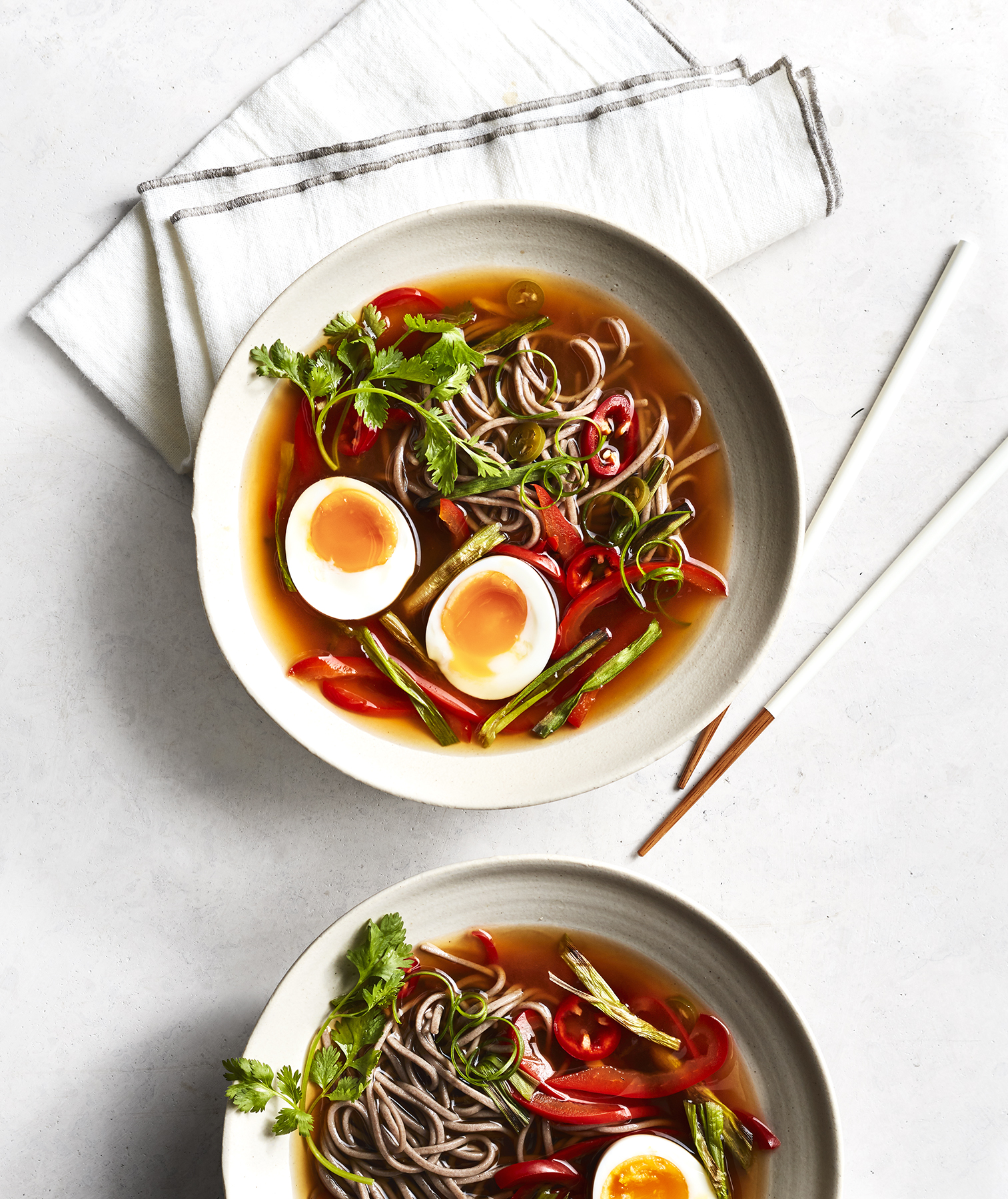 Soba With Charred Scallions and Soft-Cooked Eggs