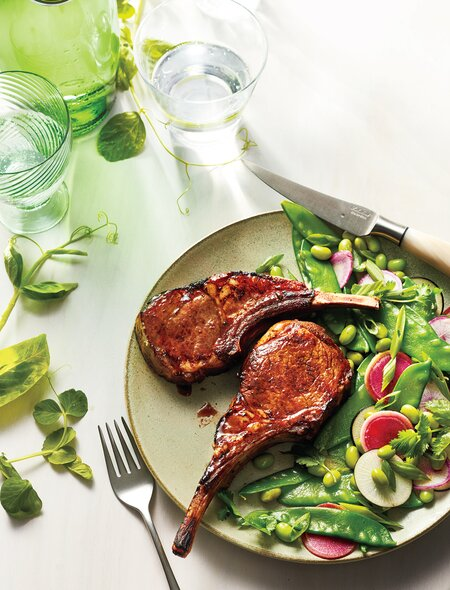 Five-Spice Lamb Chops With Snow Pea Salad
