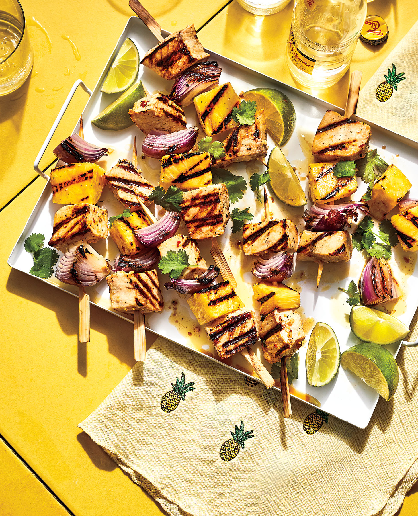 Pineapple, Swordfish, and Red Onion Kebabs