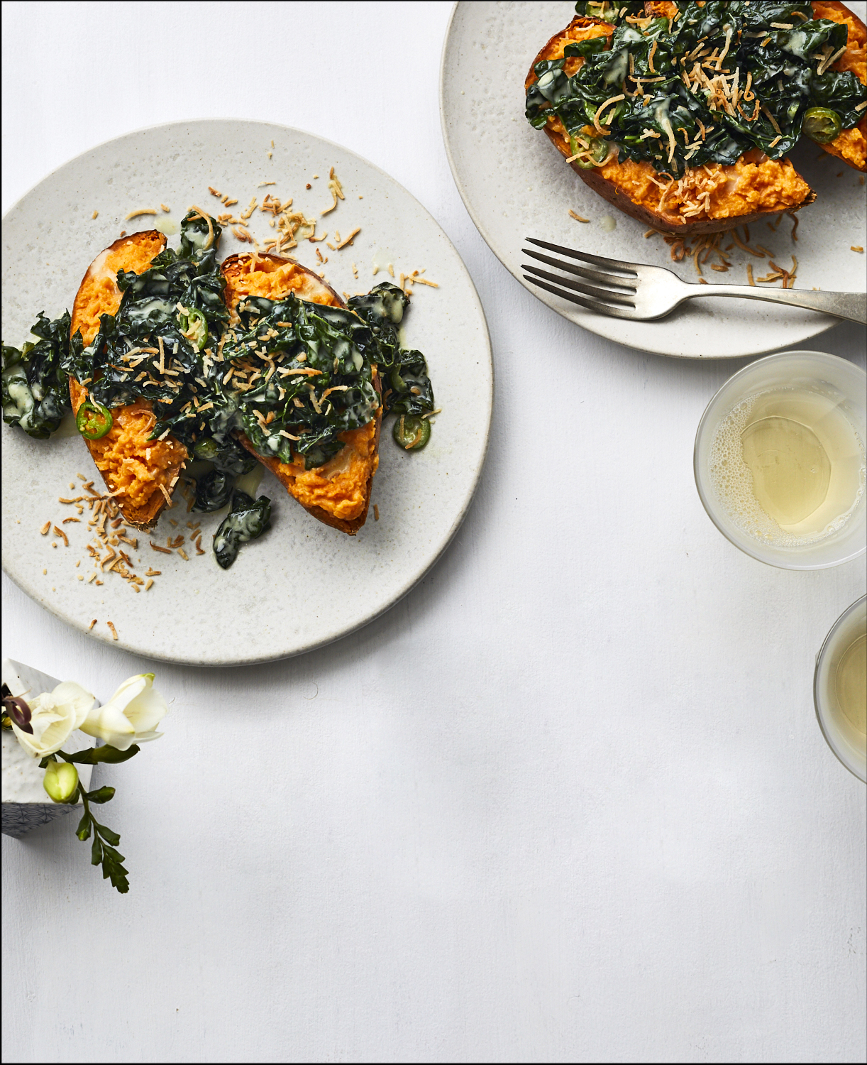 Loaded Sweet Potatoes With Coconut and Kale