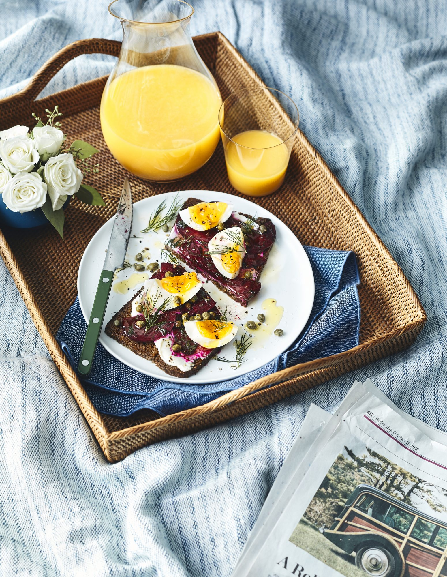 Smørrebrød With Yogurt, Beets, and Eggs
