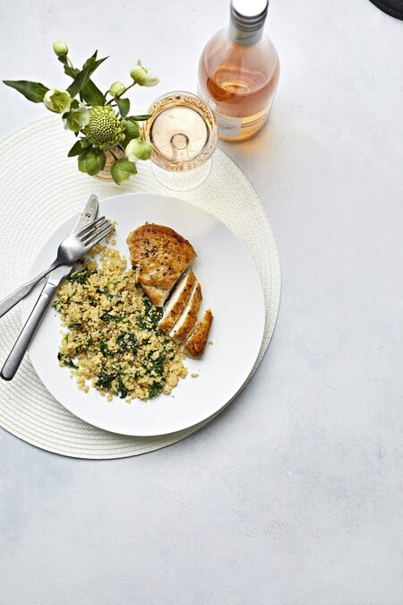 d39752e29d4 Salt-and-Pepper Chicken With Cheesy Spinach Quinoa