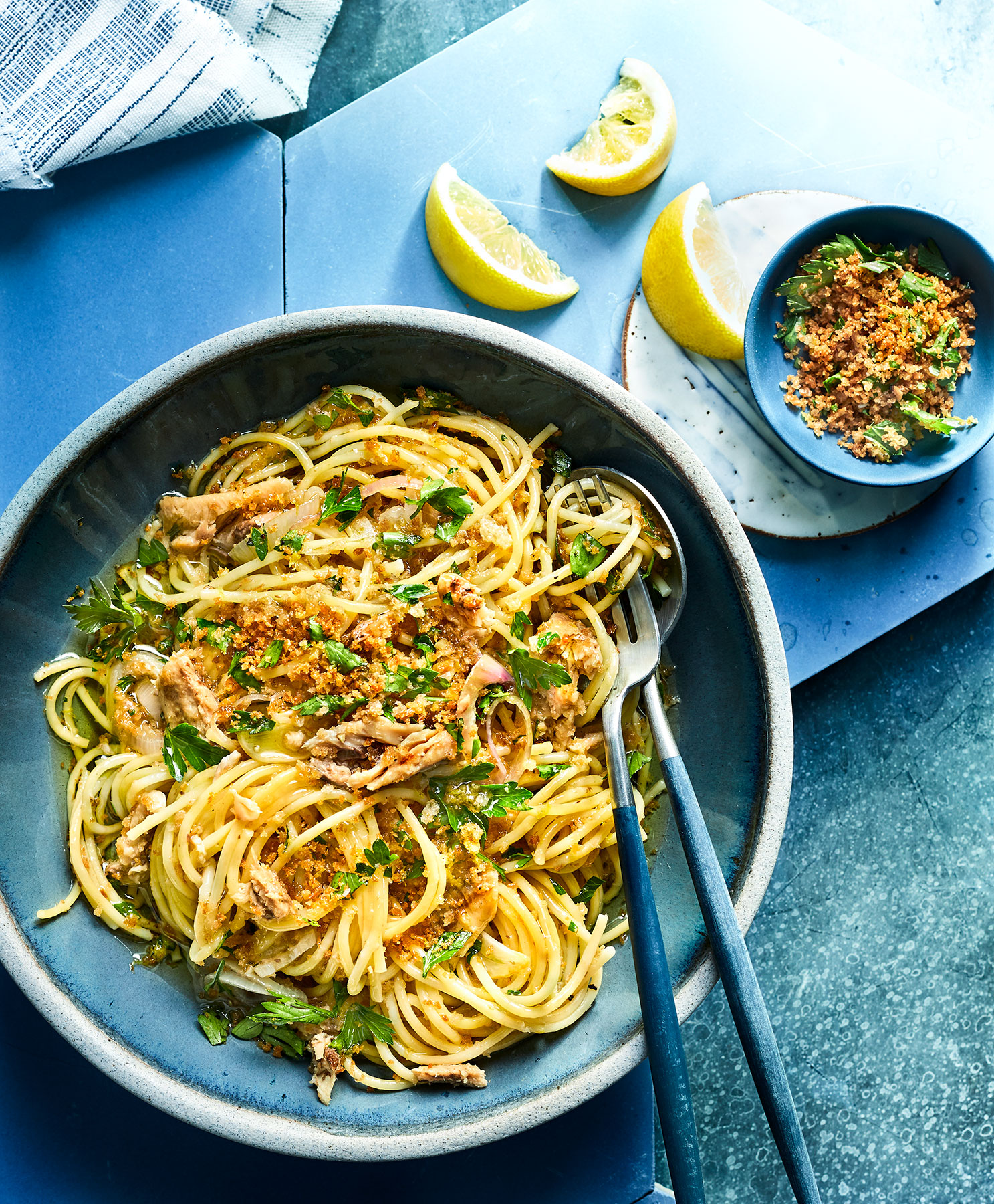 Lemony Spaghetti With Sardines and Bread Crumbs