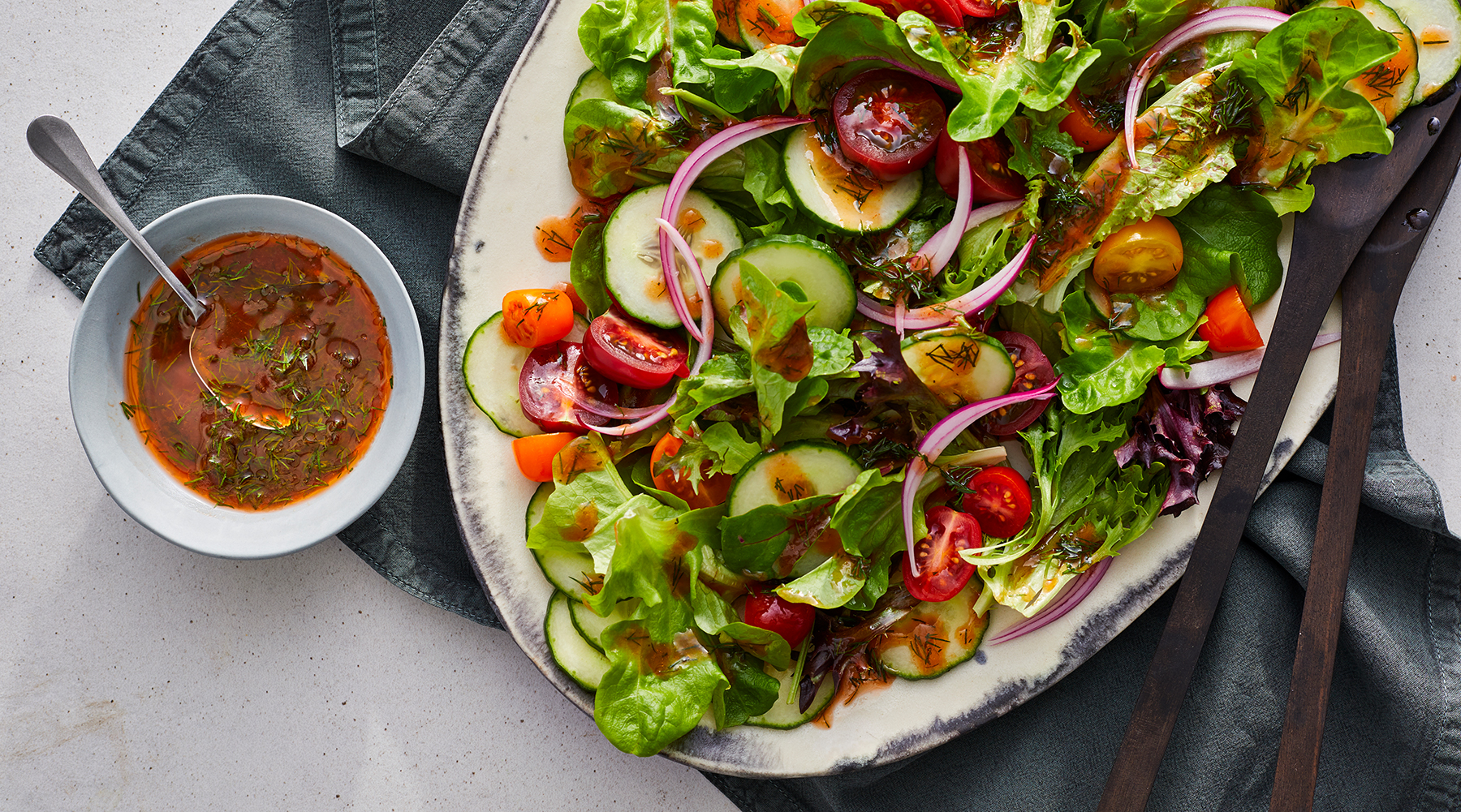 Summer Salad With Tomato Vinaigrette Recipe Real Simple