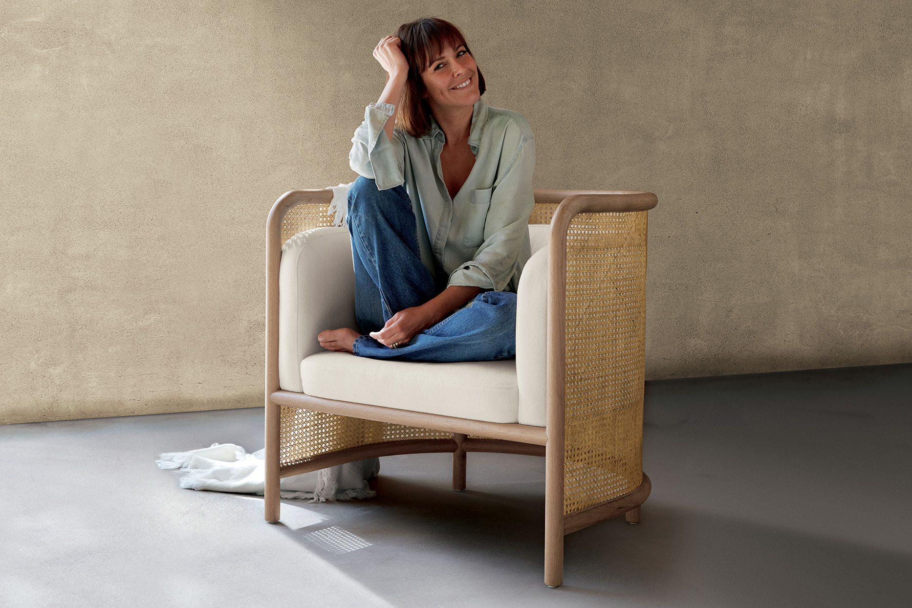 Leanne Ford Crate & Barrel Collection, Leanne on cane chair