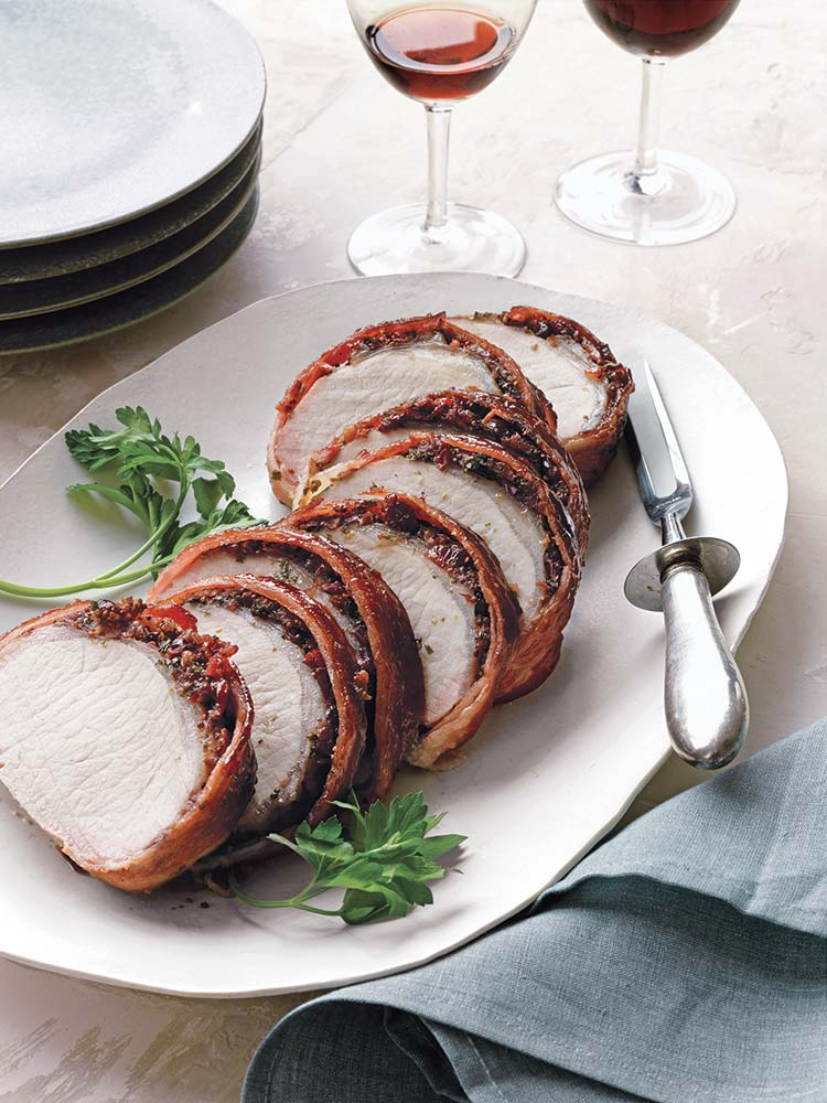 Christmas Dinner Ideas: Bacon-Wrapped Pork Loin With Cherries