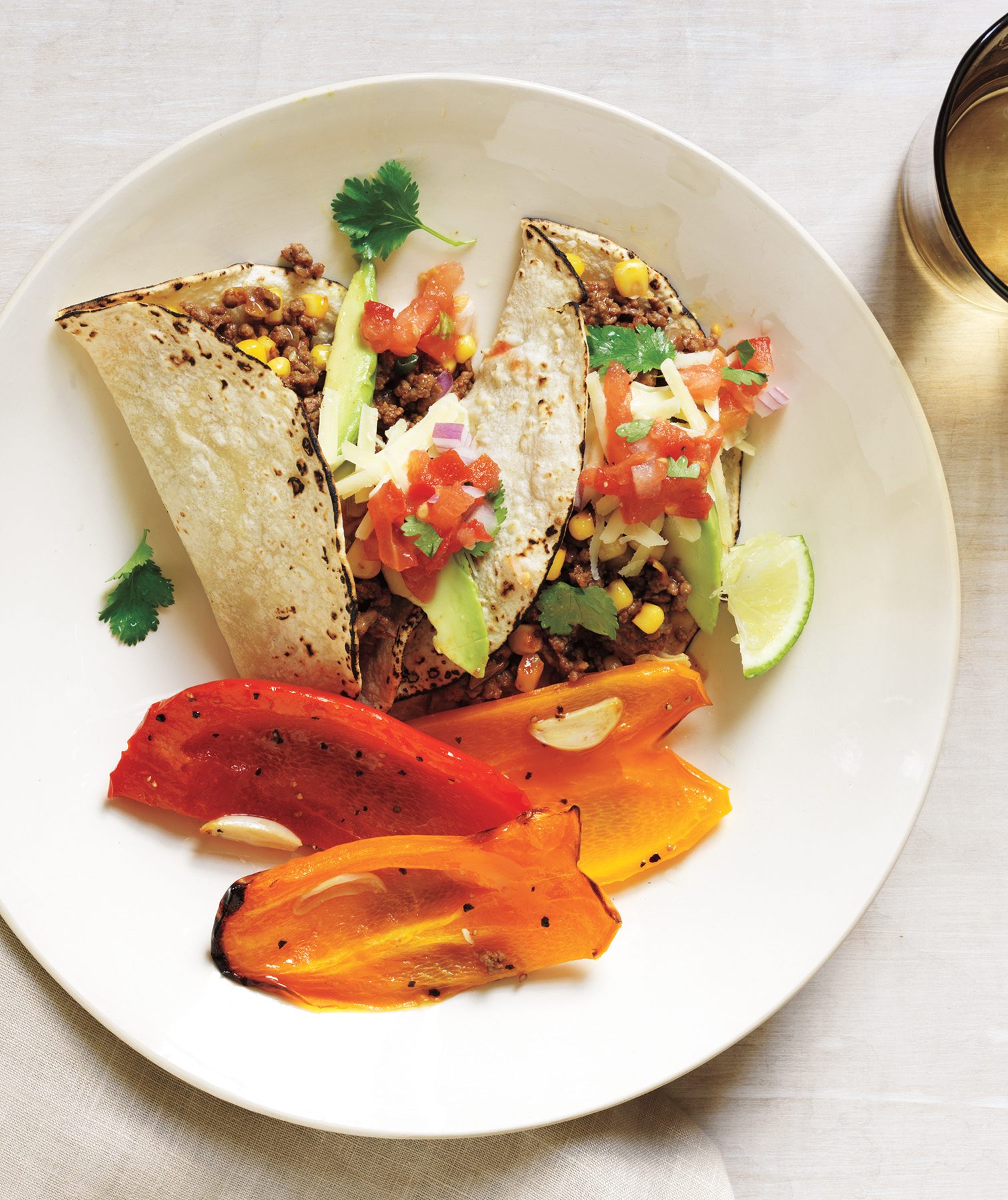 Beef and Corn Tacos With Garlicky Roasted Peppers