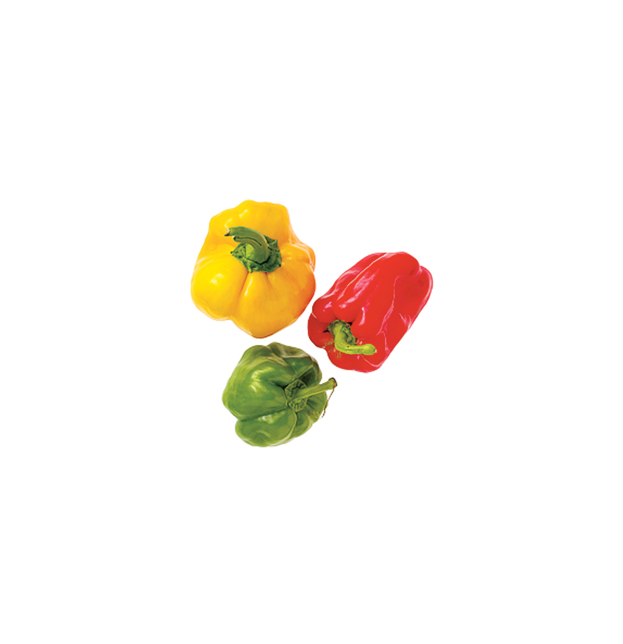 Yellow, red, and green bell peppers