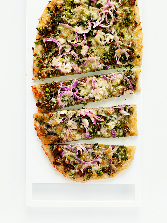 Broccoli Rabe and Beef Flat Bread
