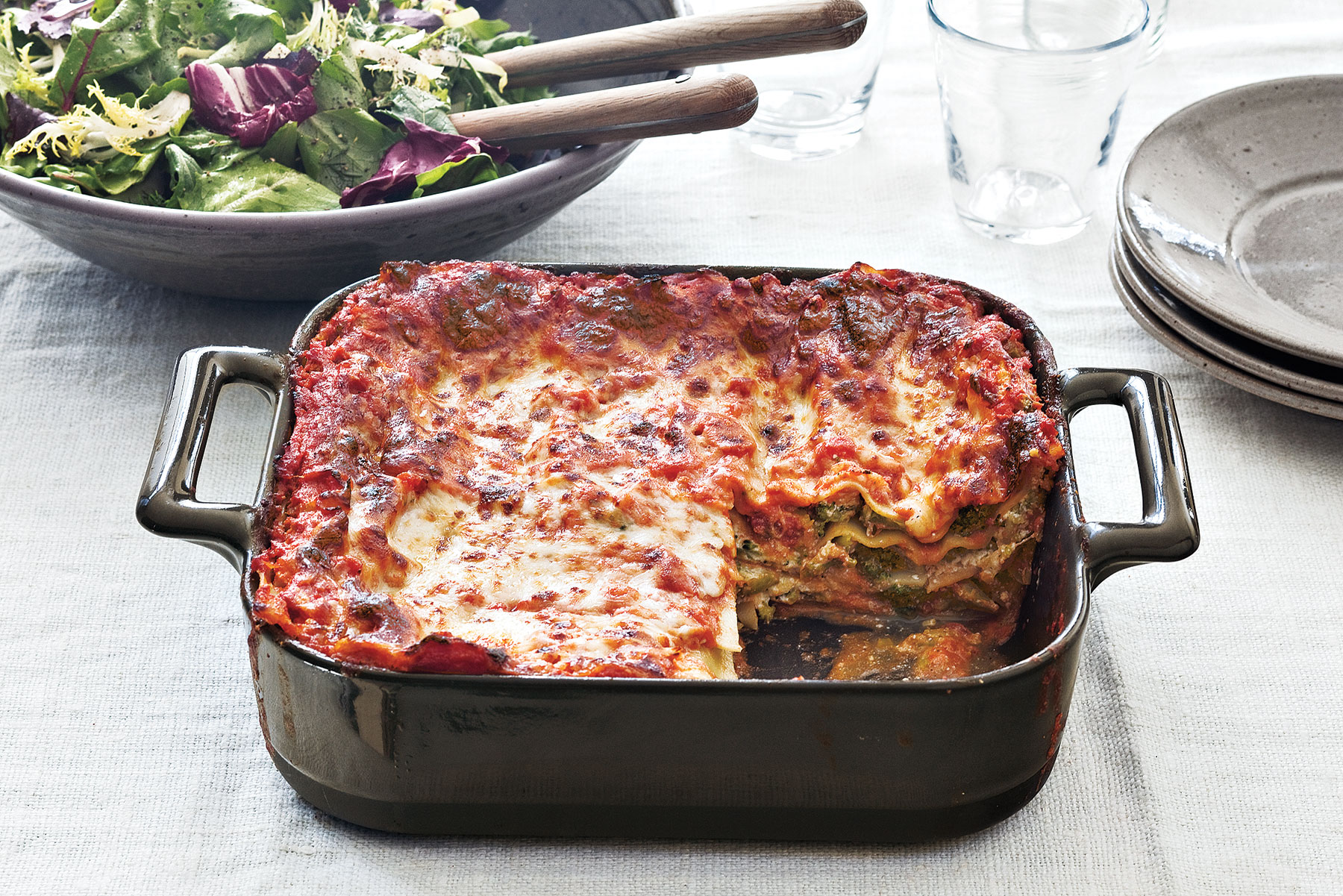 Broccoli and Three-Cheese Lasagna
