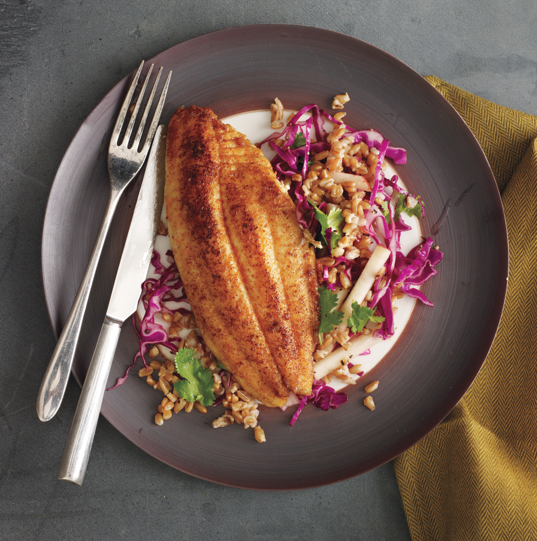 Catfish With Farro, Apple, and Cabbage Slaw