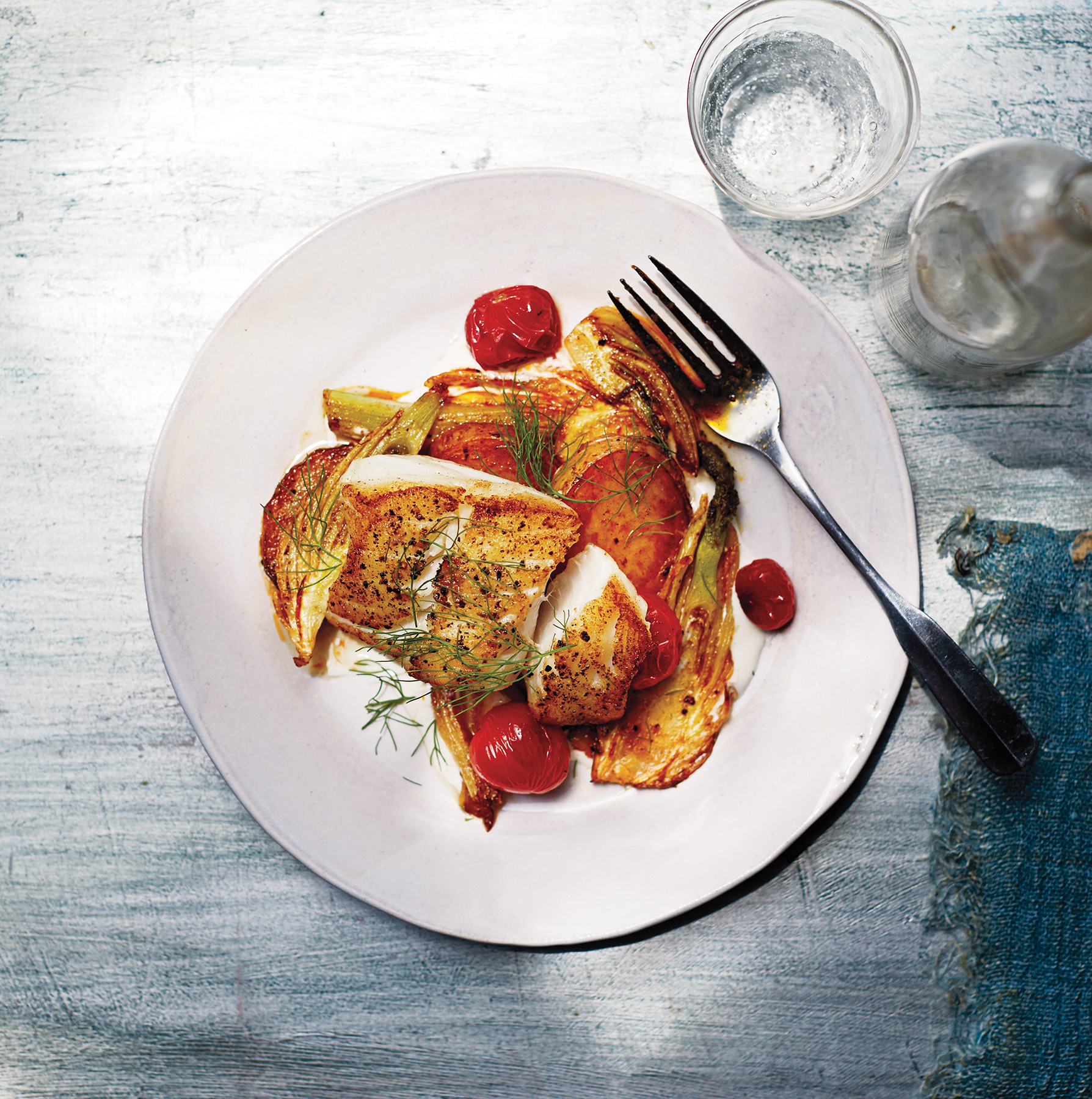 Roasted Cod with Potatoes, Fennel, and Tomatoes
