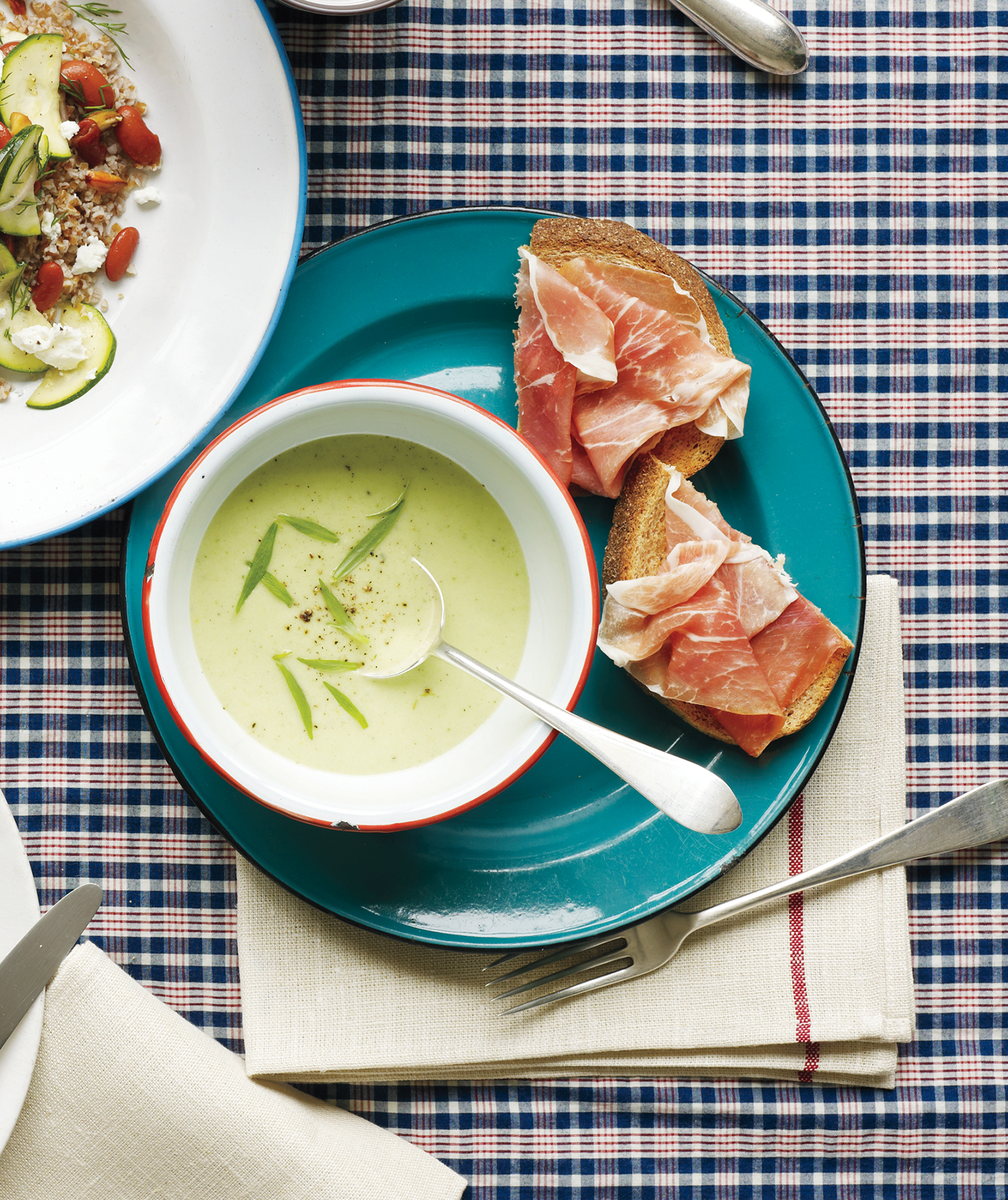 Cucumber-Avocado Soup With Prosciutto Toasts