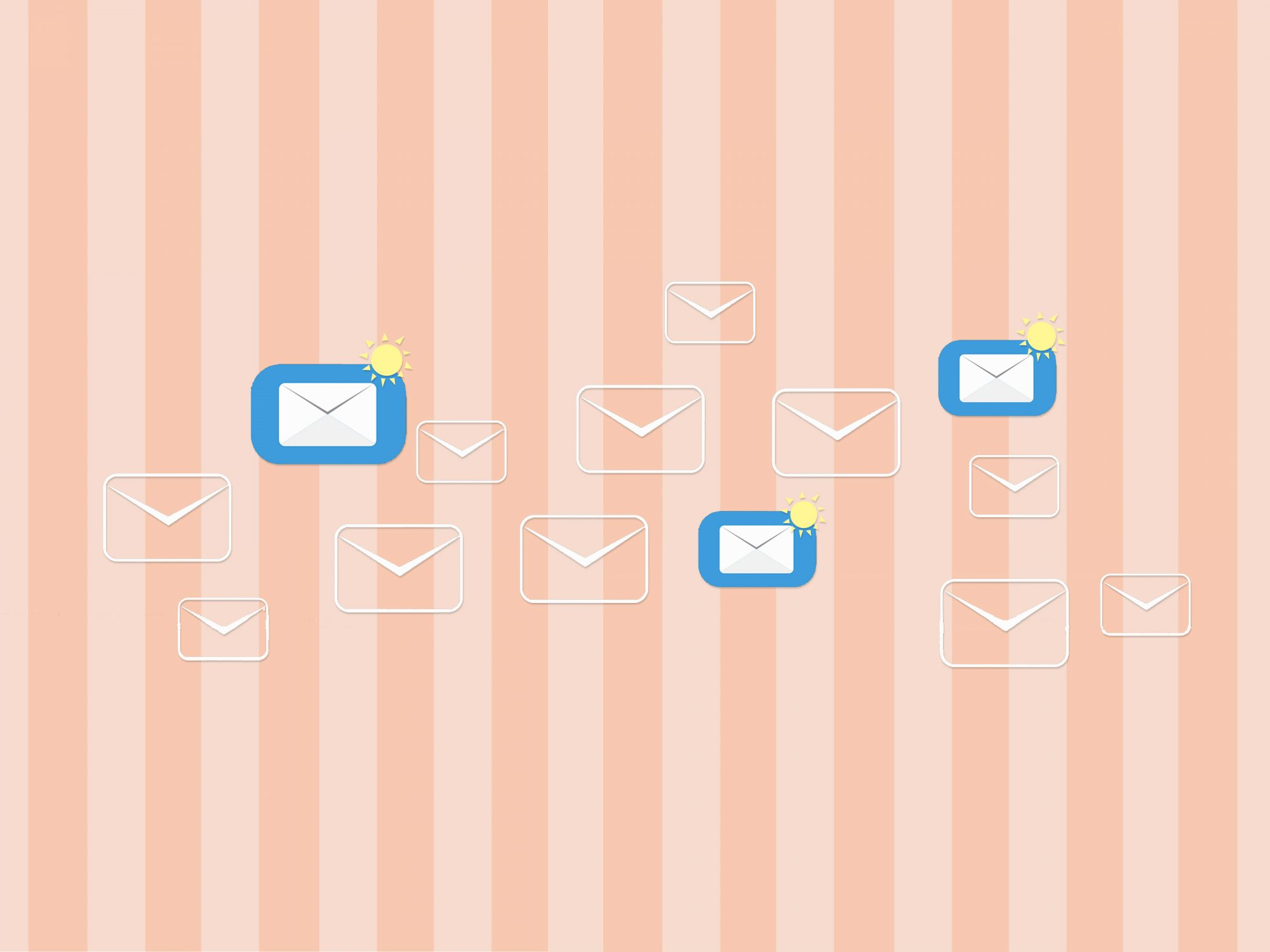 What to include in an out-of-office email: envelopes on a striped background